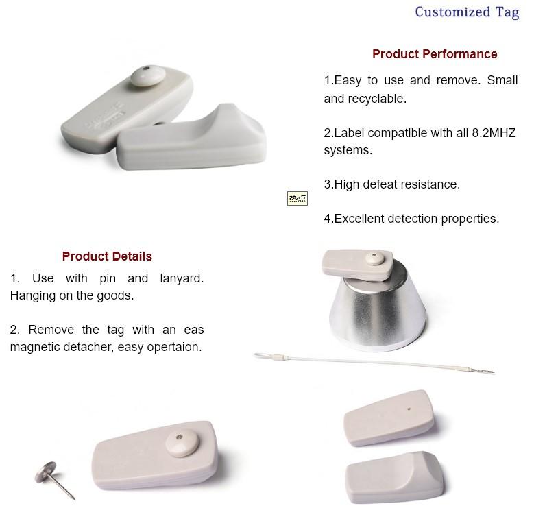 EG-RH13 EAS 8.2MHz Square Clothing Security Hard Tags RF EAS Hard Tag